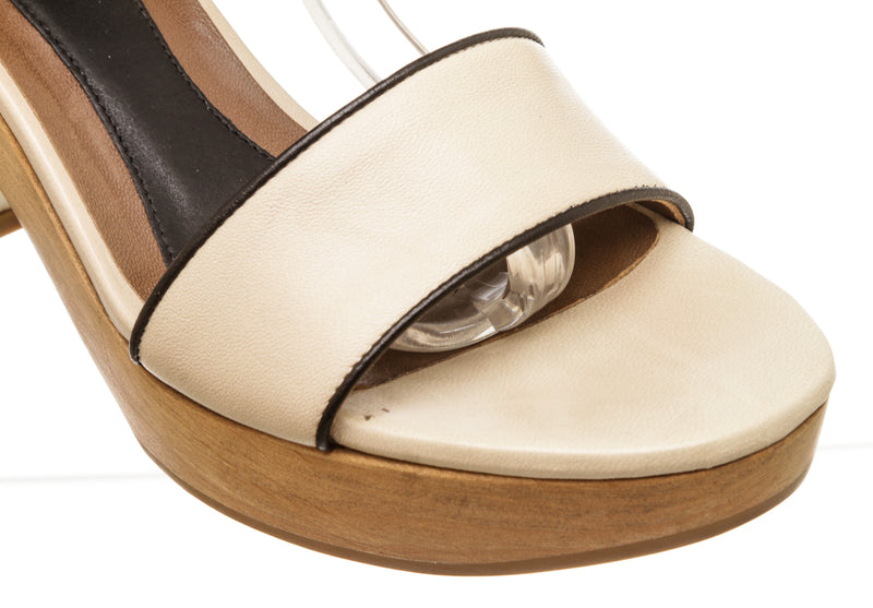 Marni Cream Leather Wooden Platform Sandals (Size 37)