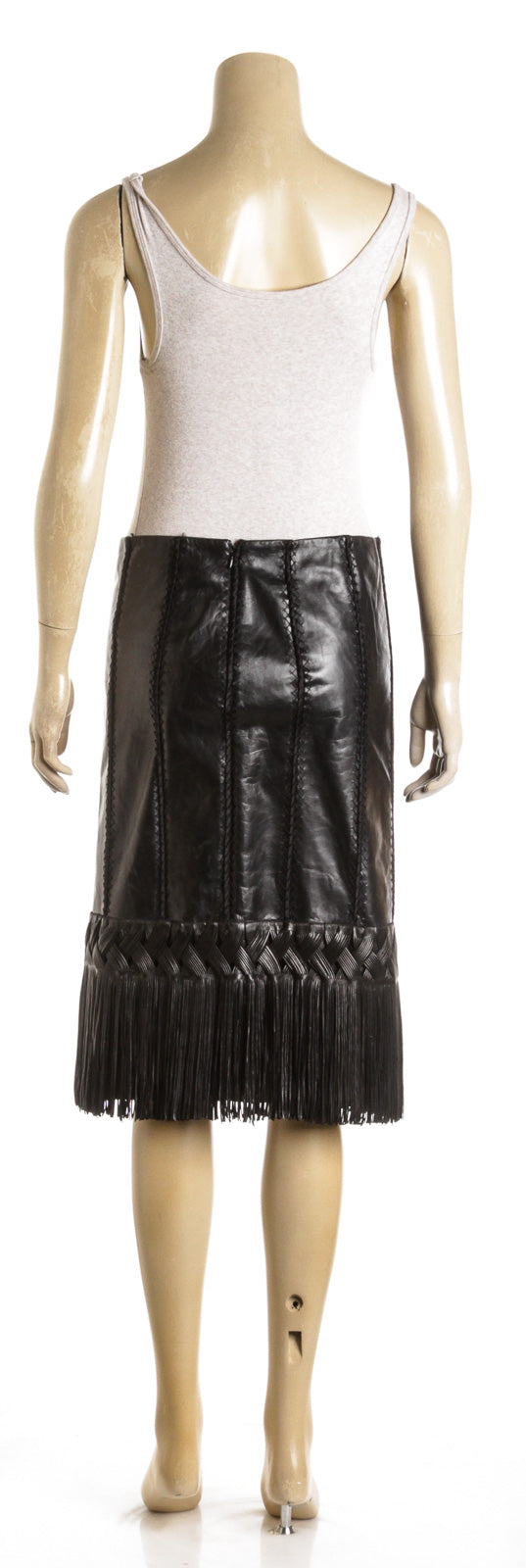 J Mendel Black Leather Fringe Skirt (Size 4)