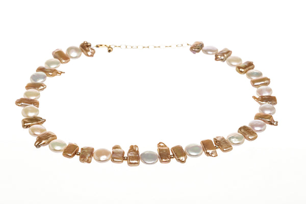 Fire & Ice White and Bronze Pearl Two Tone Necklace