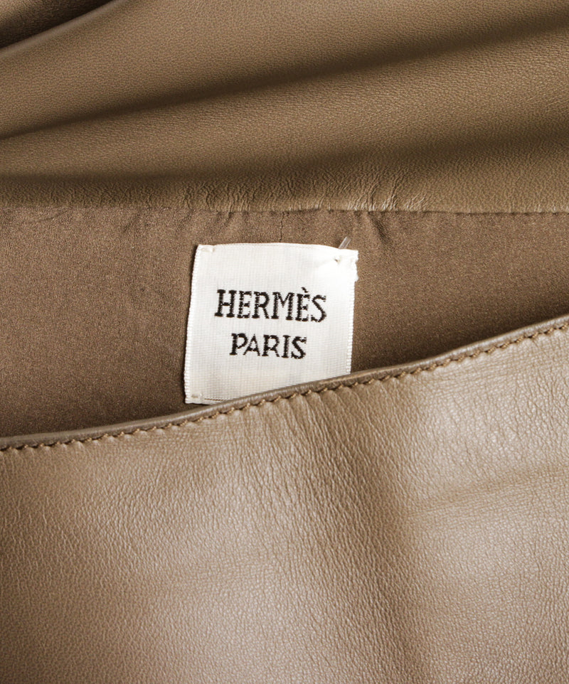 Hermes Taupe Lambskin Leather High Waist Pants (Size 38)