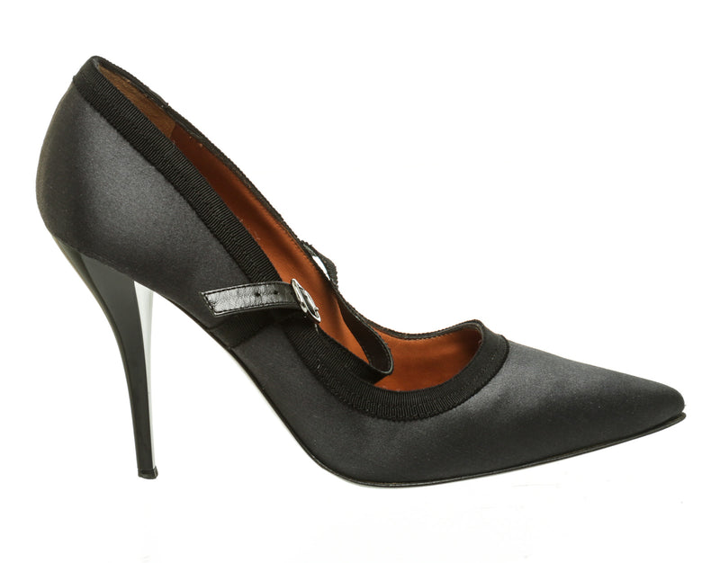 Lanvin Black Satin Mary Jane Pumps (Size 39)