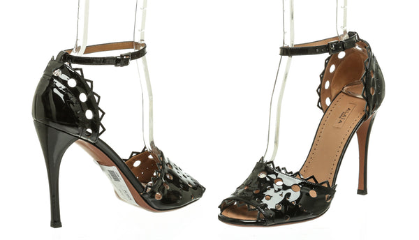 Alaia Black Patent Leather Cut Out Sandals (Size 38.5)