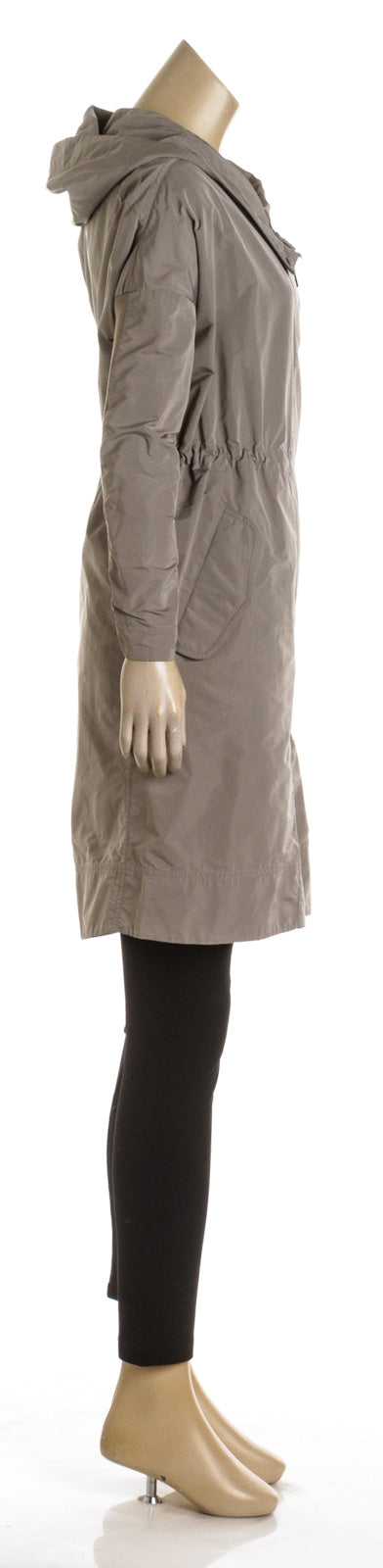 Brunello Cucinelli Light Gray Hooded Lightweight Parka (Size 38)