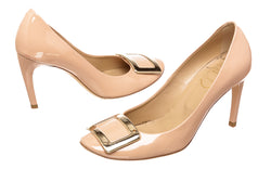 Roger Vivier Blush Patent Leather Buckle Pumps (Size 38)