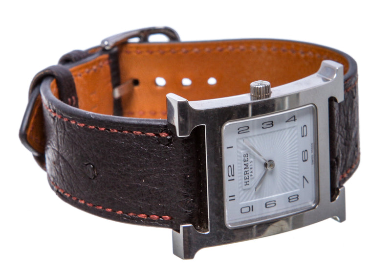 Hermès Black Leather and Stainless Steel Heure H Watch, Small Model
