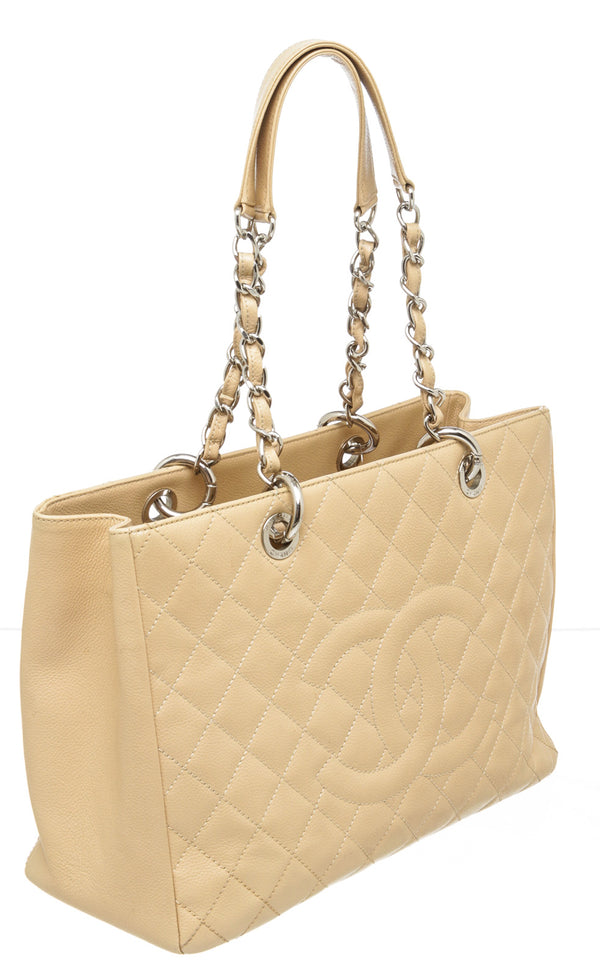 Chanel Beige Caviar Grand Shopper Tote Bag GST