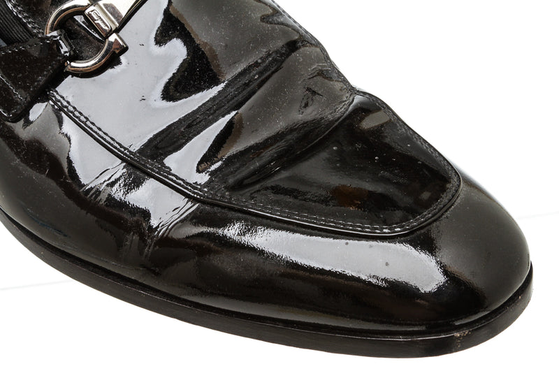 Salvatore Ferragamo Black Patent Leather Gancio Loafers (Size 11)