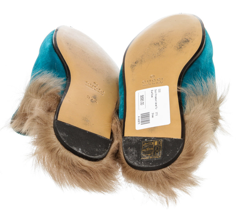 Gucci Blue Velvet and Lamb Fur Princetown Mules (Size 37.5)