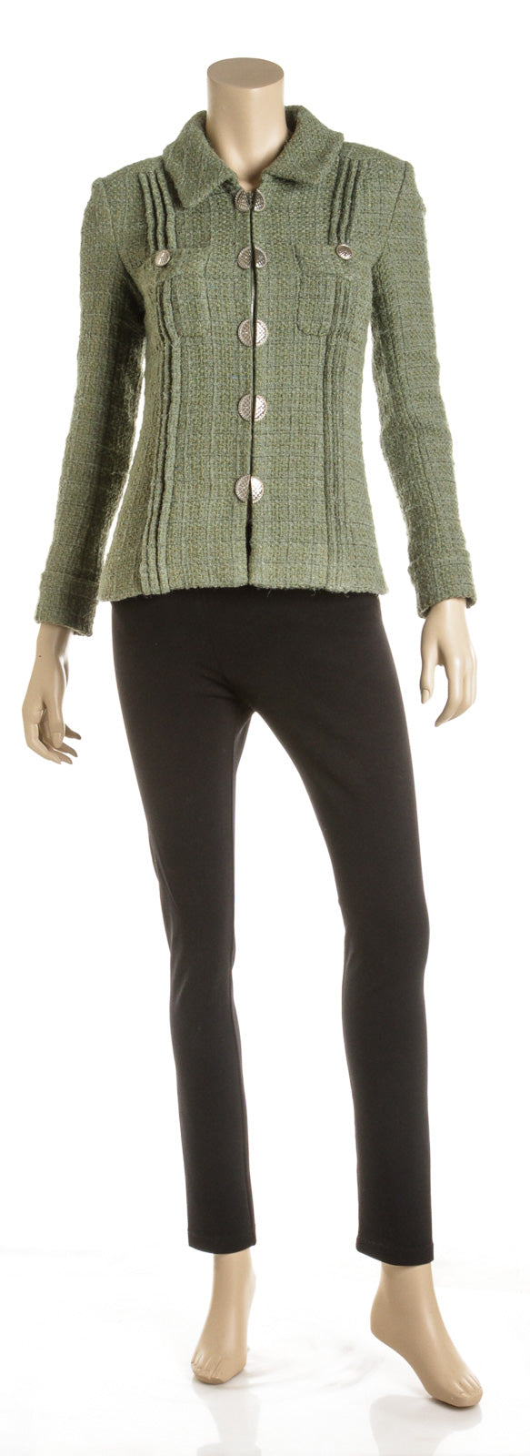 Chanel Green Wool Blend Tweed Cuba Collection Jacket (Size 36)
