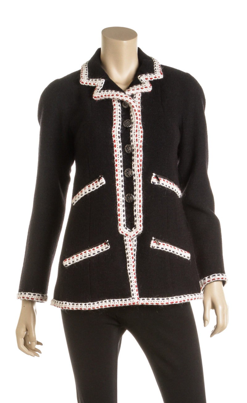 Chanel Black Wool and Multicolor Weave Trim Tweed Jacket (Size 36)