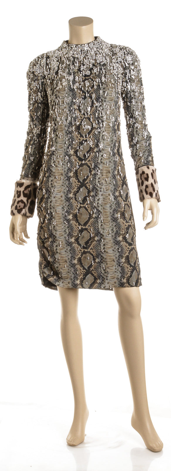 Tom Ford Gray Silk Snake Print and Crystal Encrusted, Leopard Cuff Dress (Size 38)