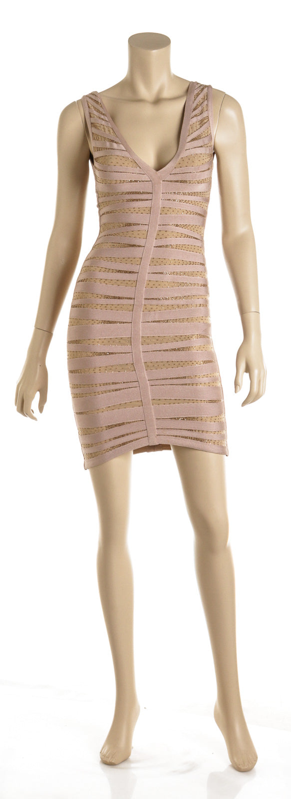Herve Leger Rose Gold Mesh and Beaded Bandage Dress (Size XXS)