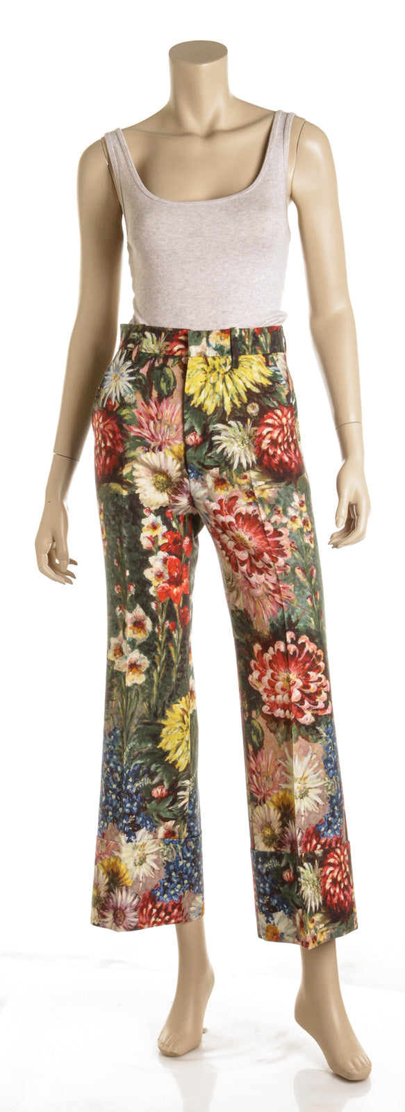 Gucci Multicolor Wool and Mohair Impressionist Floral Print Cuffed Pants (Size 38)
