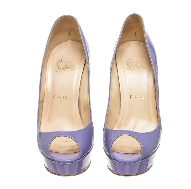 Christian Louboutin Purple Patent Banana Pumps (Size 38)
