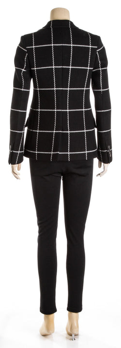 Christian Dior Black and White Wool Long Sleeve Windowpane Blazer (Size 2)