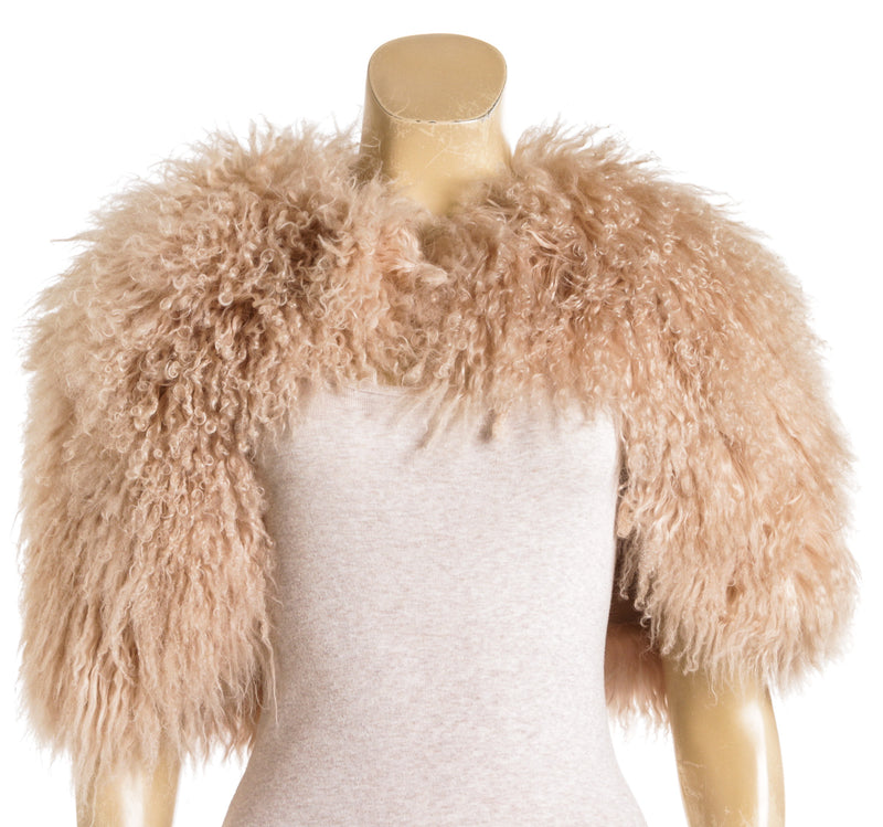 Christian Dior Pink Curly Lamb Fur Cape (Size 4)