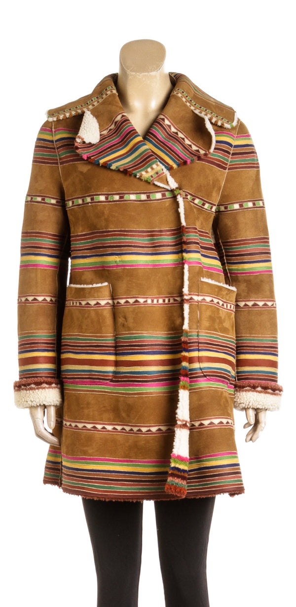 Valentino Reversible Double-Breasted Striped Shearling Coat (Size 44)