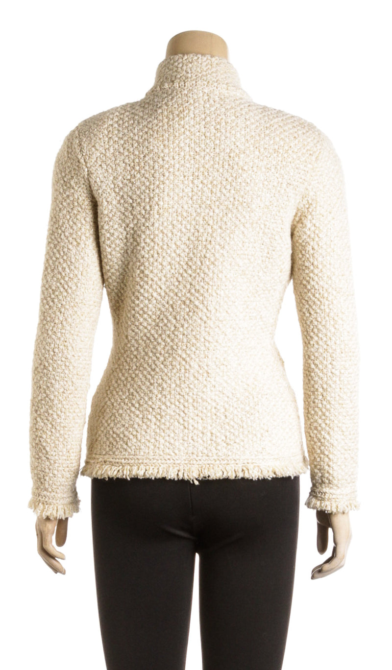 Chanel Off White Alpaca Wool Long Sleeve Cardigan 03A (Size 36)