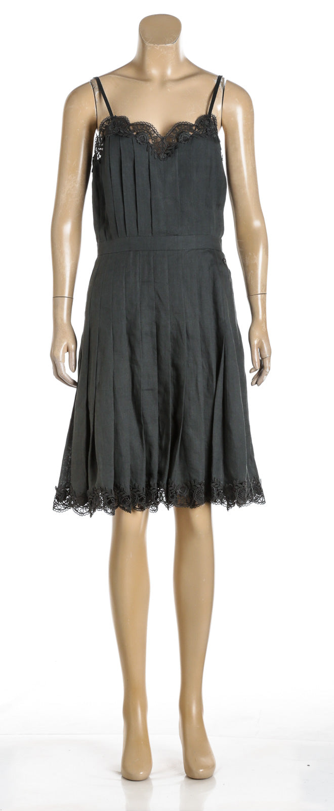 Chanel Dark Green Linen Dress 17C  (Size 38)