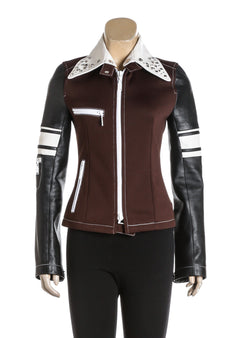 Louis Vuitton Brown Knit And Black Leather Studded Jacket (Size 36)