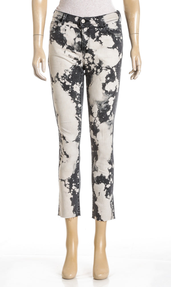 Gucci Gray Bleached Denim With Flower Embroidery Skinny Jeans (Size 25)