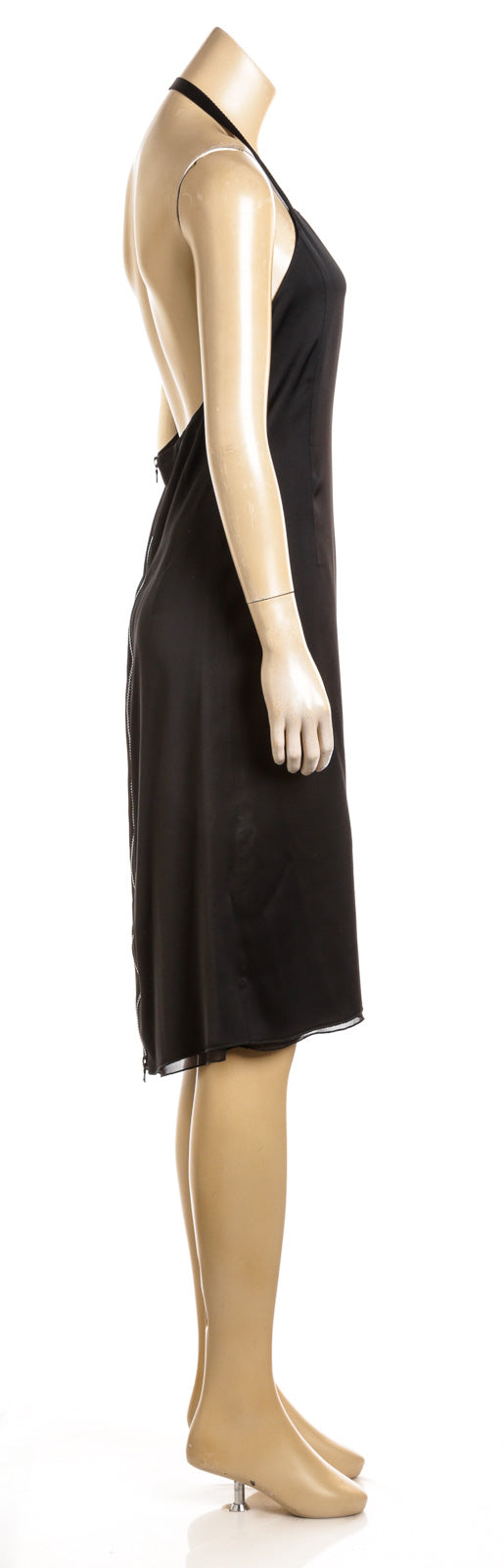 Prada Black Sleeveless Acetate Halter Dress (Size 44)