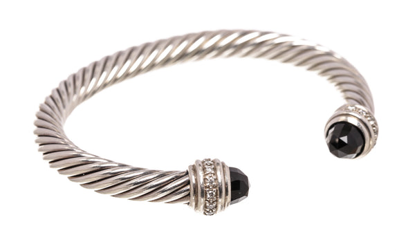 David Yurman Sterling Silver Cable Classics Bracelet With Black Onyx and Diamonds, 7mm