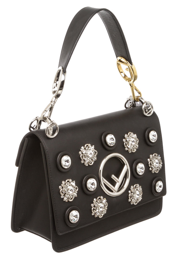 Fendi Black Leather Kan I Crystal Embellished Shoulder Bag