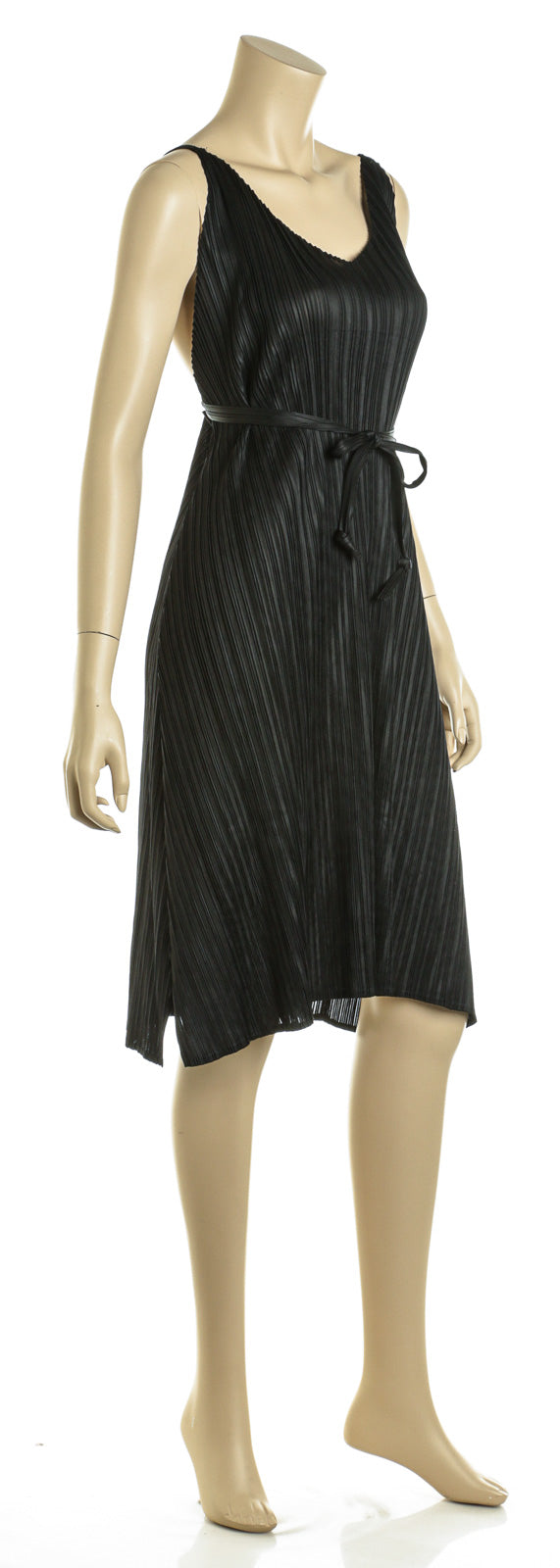 Masaki Matsuka Black Pleated Spaghetti Strap Sheath Dress (Size S)
