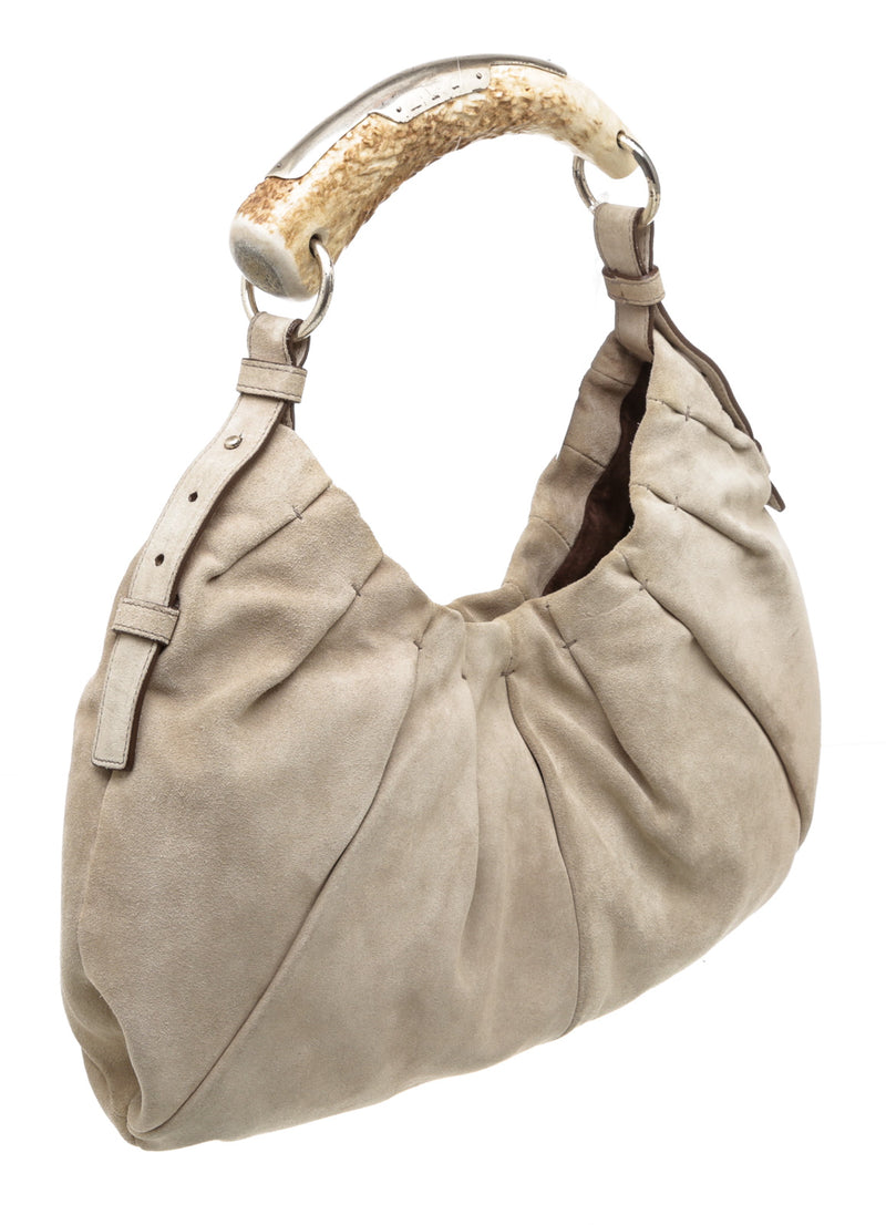 Yves Saint Laurent Light Gray Suede Leather Mombasa Hobo