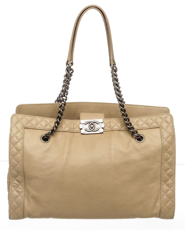 Chanel Beige Lambskin Boy Reverso Shopping Tote Bag