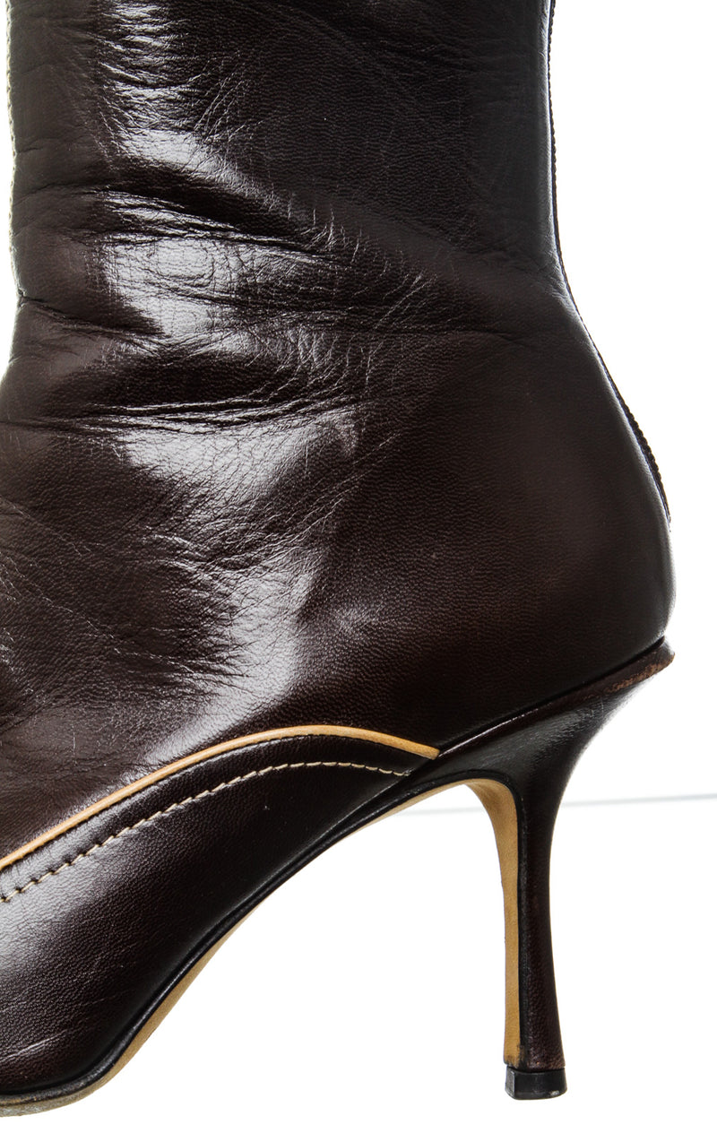 Jimmy Choo Brown Leather Pointed Toe Booties (Size 38)