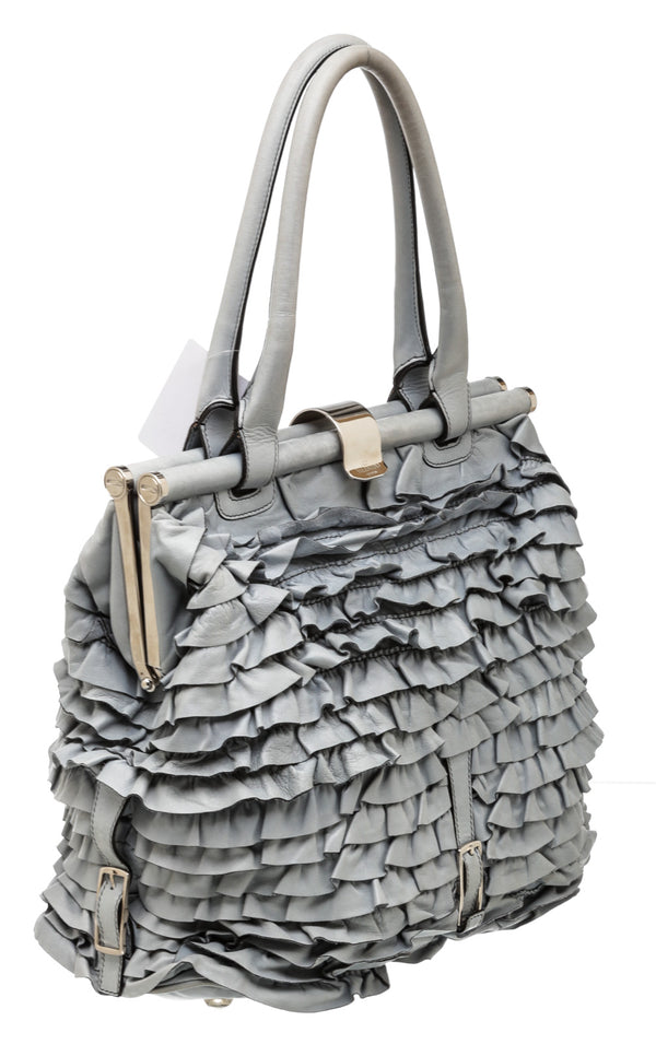 Valentino Blue Nappa Leather Tiered Ruffle Handbag