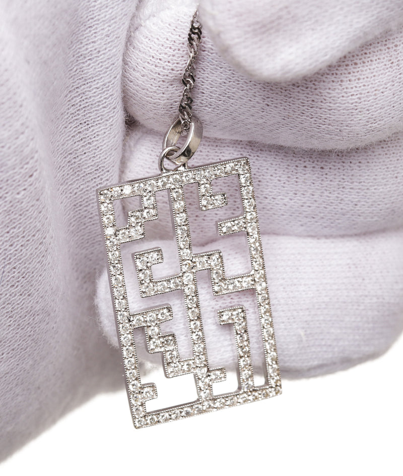 14k White Gold and Diamond Art Deco Necklace