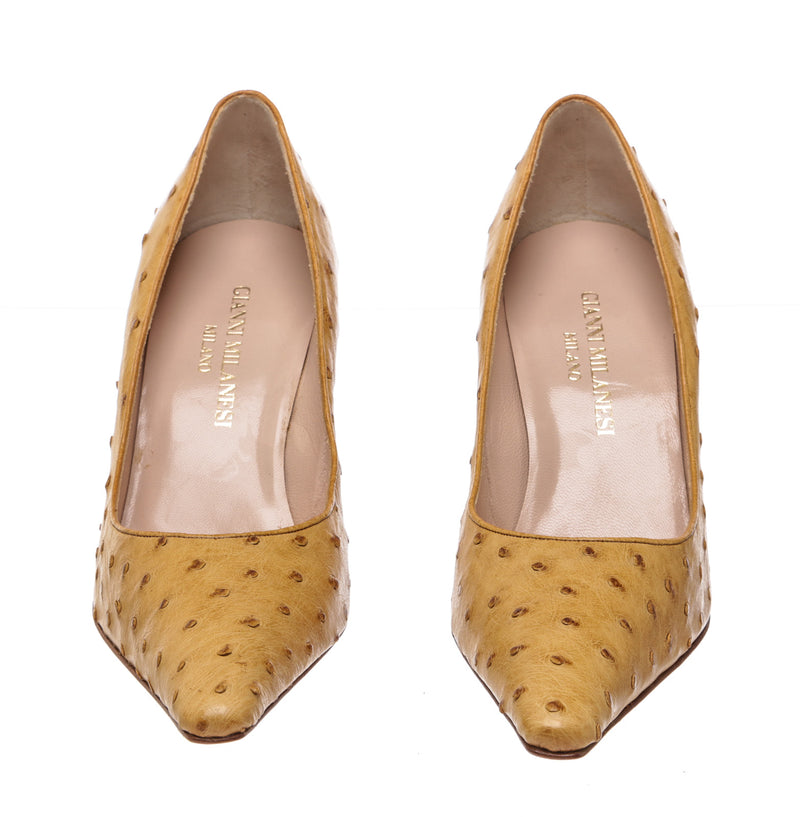 Gianni Milanesi Tan Ostrich Pumps (Size 40)