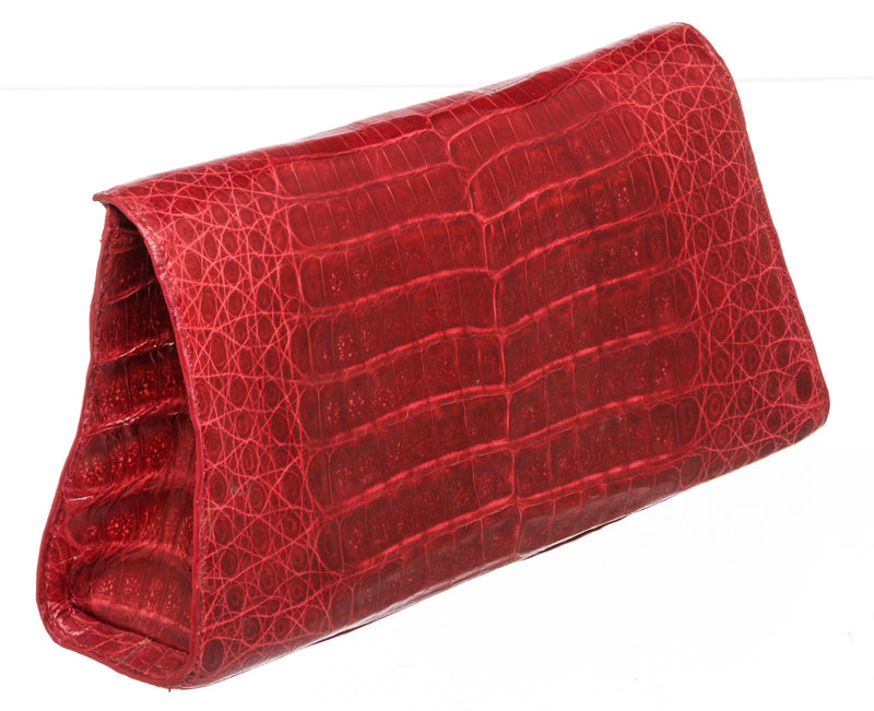Nancy Gonzalez Red Crocodile Flap Clutch