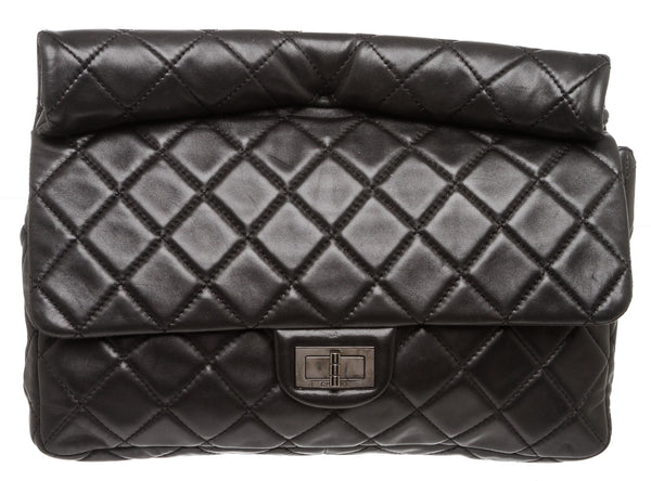 Chanel Black Lambskin Roll Clutch Bag
