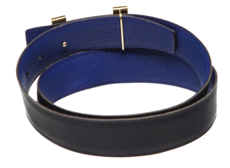 Hermes 30mm Reversible Navy Blue and Blue Electrique Constance Belt (Size 80)