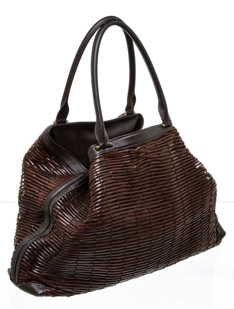 Akris Brown Woven Ai Leather Tote Bag