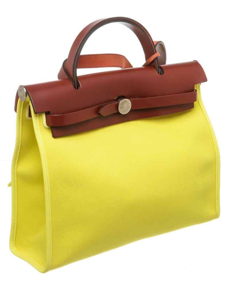 Hermes Lime Yellow Toile and Vache Hunter Herbag Zip 31 Bag