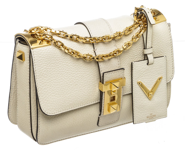 Valentino Cream Pebbled Leather B-Rockstud Shoulder Bag