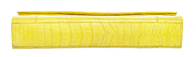Nancy Gonzalez Yellow Crocodile Flap Clutch