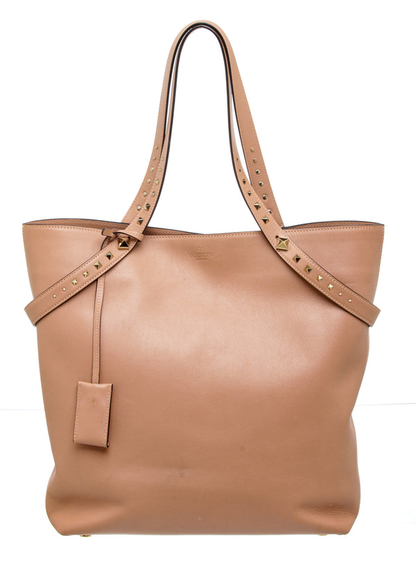 Valentino Light Pink Poudre Leather Rockstud Tote