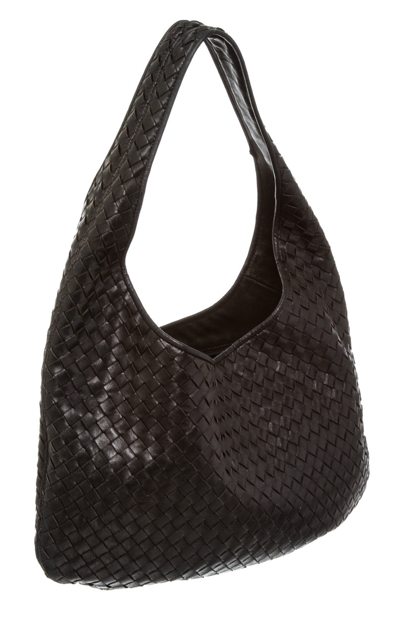 Bottega Veneta Black Intrecciato Leather Small Hobo