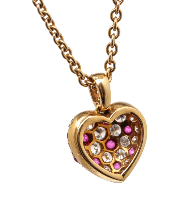 Cartier 18K Yellow Gold Ruby and Diamond Heart Pendant Necklace