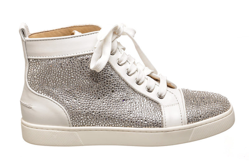 Christian Louboutin White High Top Louis Strass  Sneakers (Size 38)