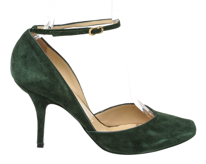 Emporio Armani Green Suede Ankle Strap Heels (SIze 39.5)