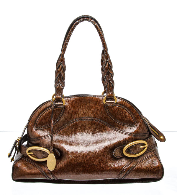 Tod's Brown Patent Leather Shoulder Bag