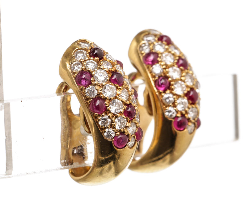 Cartier 18K Yellow Gold  Diamond and Ruby Dome Clip-On Earrings