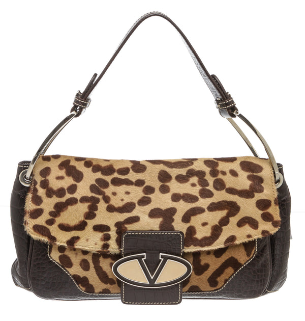 Valentino Leopard-Print Calf Hair and Embossed Croc Flap Shoulder Bag